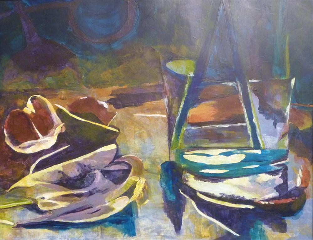 """Boats and Petals"" original fine art by Cathy Dykstra"