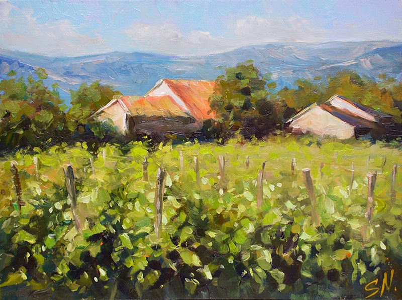 """Tuscany village, Countryside of Italy"" original fine art by Nick Sarazan"