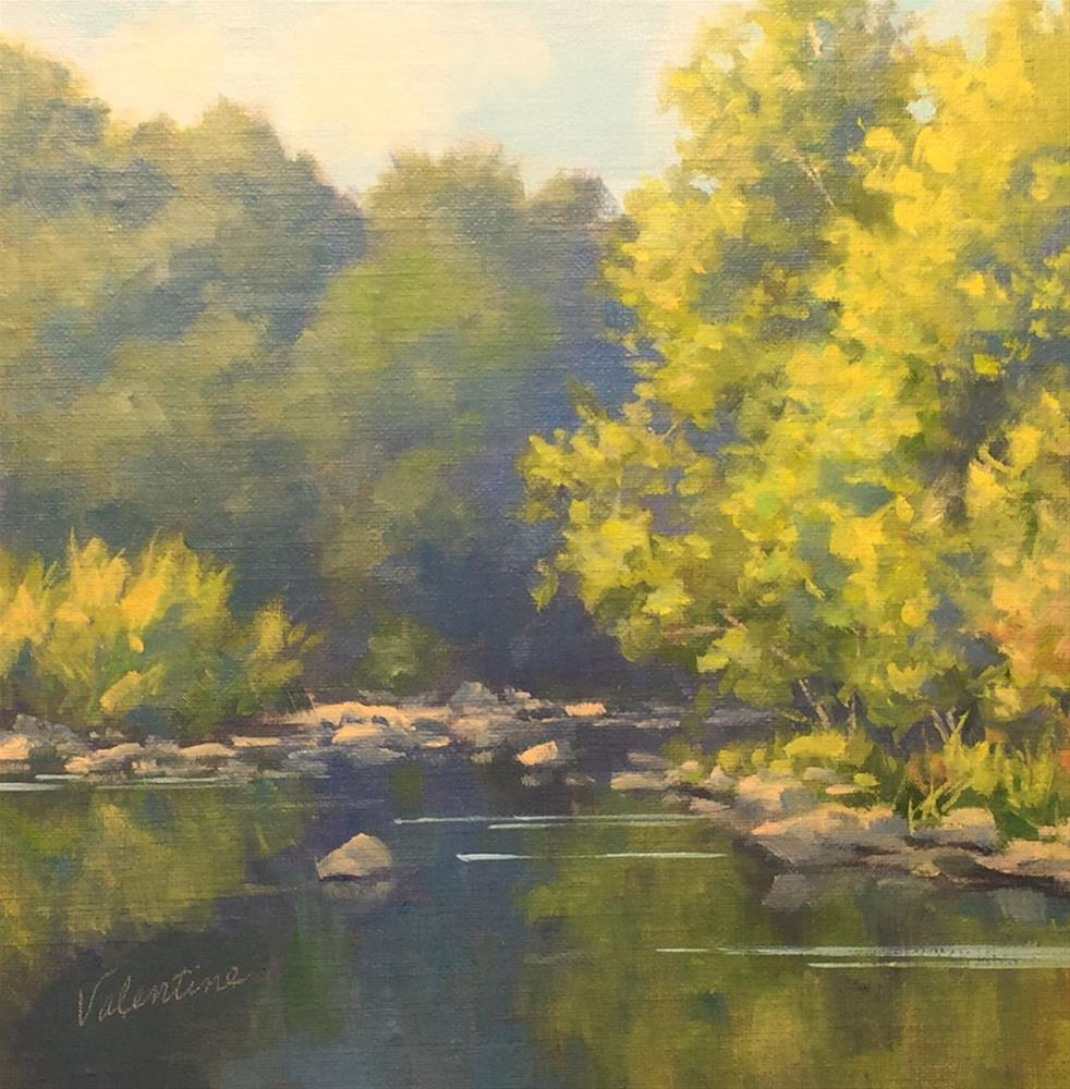 """River Blues"" original fine art by Barbara Valentine"