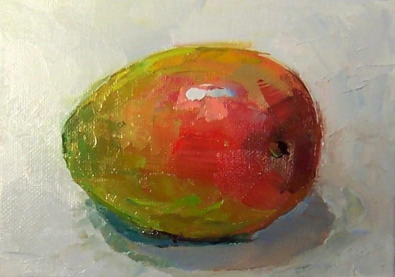 """Mango,still life,oil on canvas,5x7.price$200"" original fine art by Joy Olney"