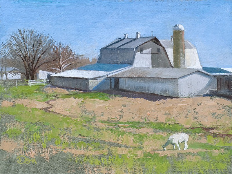 """Keck Barn with Alpaca Grazing"" original fine art by Don Stewart"