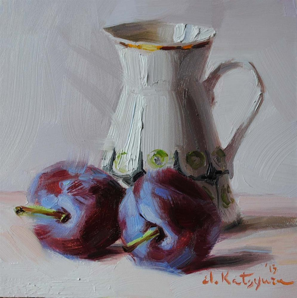 """Creamer and Plums"" original fine art by Elena Katsyura"
