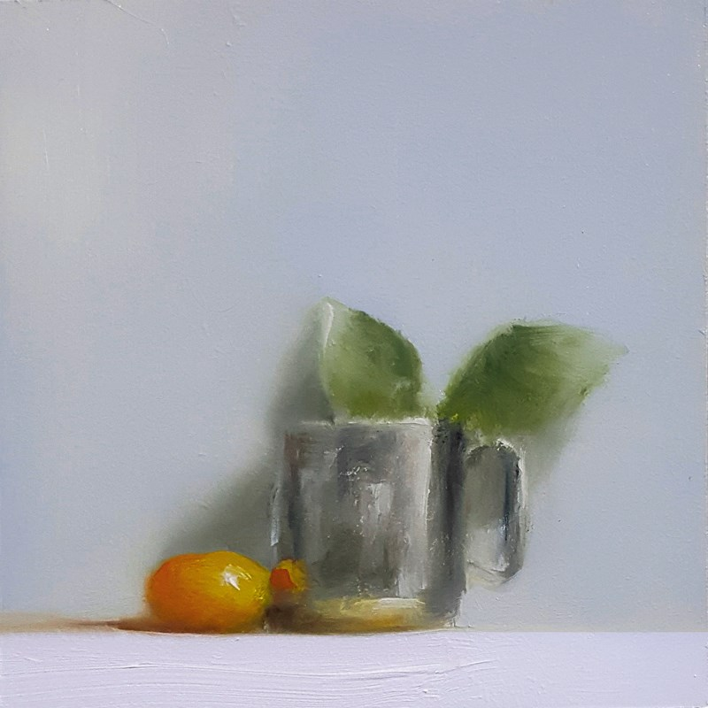 """""""Cup with Clem and Leaves"""" original fine art by Neil Carroll"""
