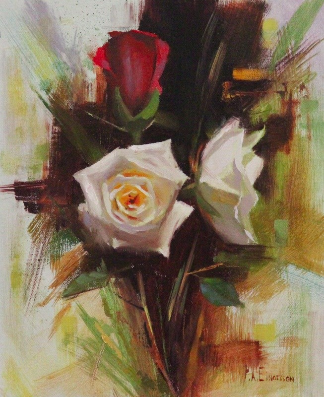 """Red and White roses"" original fine art by Thorgrimur Andri Einarsson"