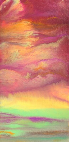 """Abstract Landscape,Sunset Art Painting Sky In Motion - Pink by Colorado Contemporary Artist Kimber"" original fine art by Kimberly Conrad"