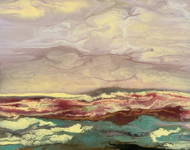"""Abstract Landscape,Sunset Art Painting Soft Reflections II by Colorado Contemporary Artist Kimberl"" original fine art by Kimberly Conrad"