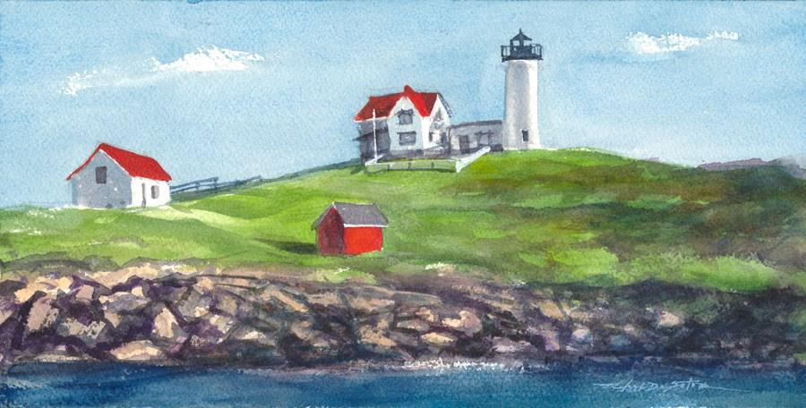 """Maine Lighthouse"" original fine art by Rafael DeSoto Jr."