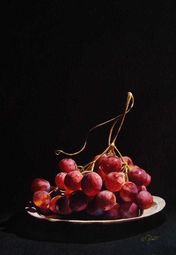 """Red Globe Grapes"" original fine art by Jacqueline Gnott, TWSA, WHS"