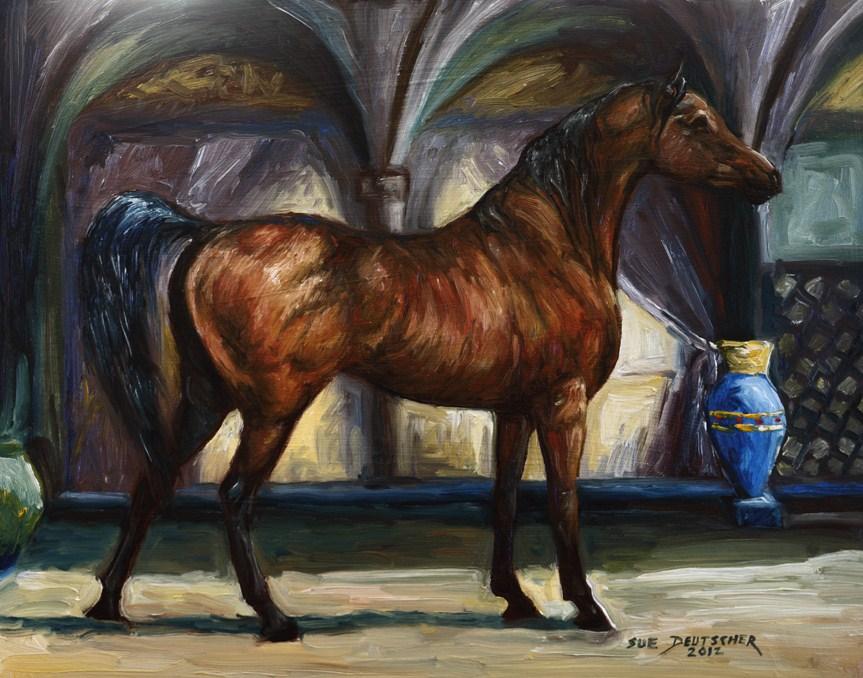 """""""Bay Arabian Horse 120530"""" original fine art by Sue Deutscher"""