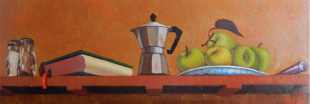 """Large Trompe L'Oeil With Coffee Pot and Apples"" original fine art by Megan Schembre"