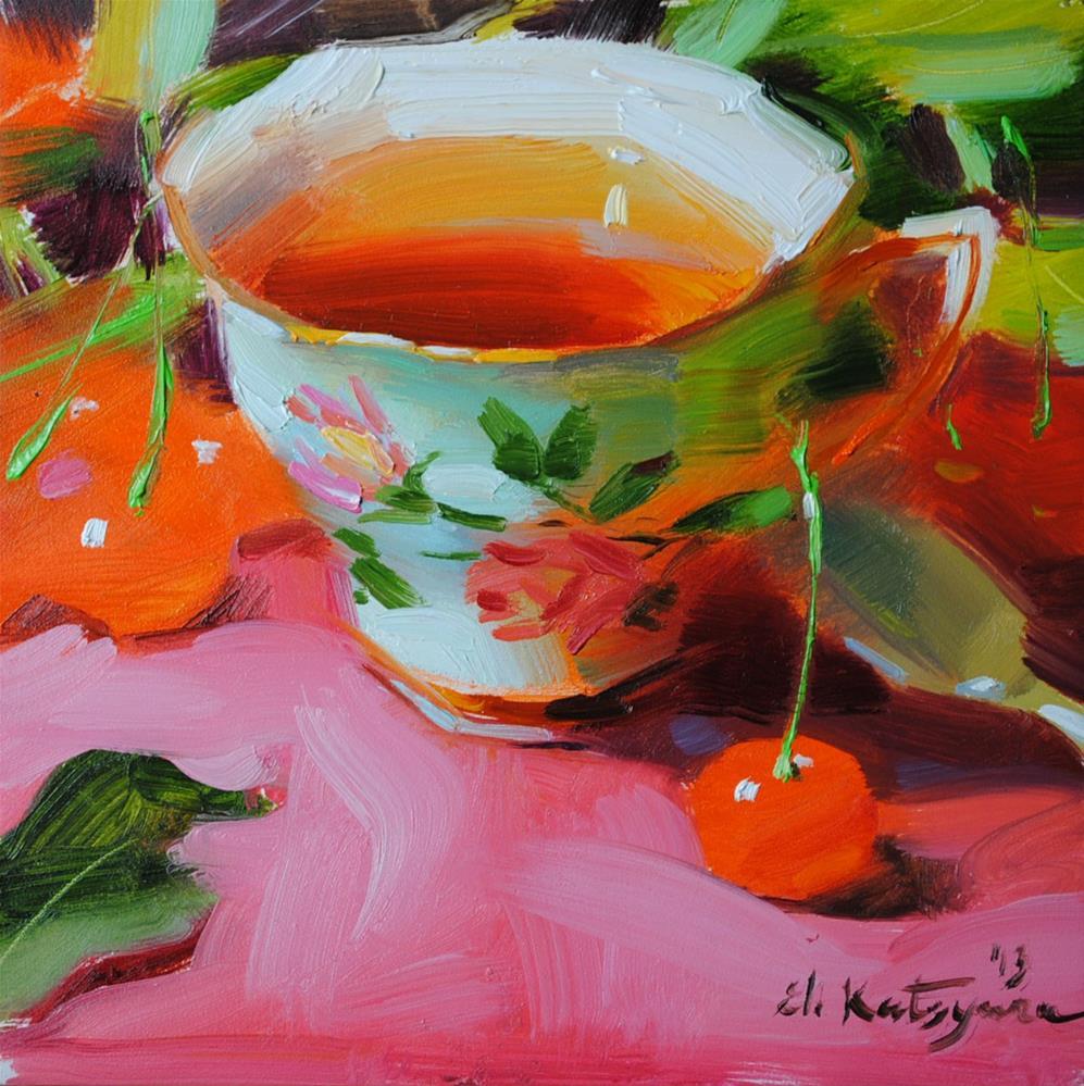 """Tea with Wild Cherries"" original fine art by Elena Katsyura"