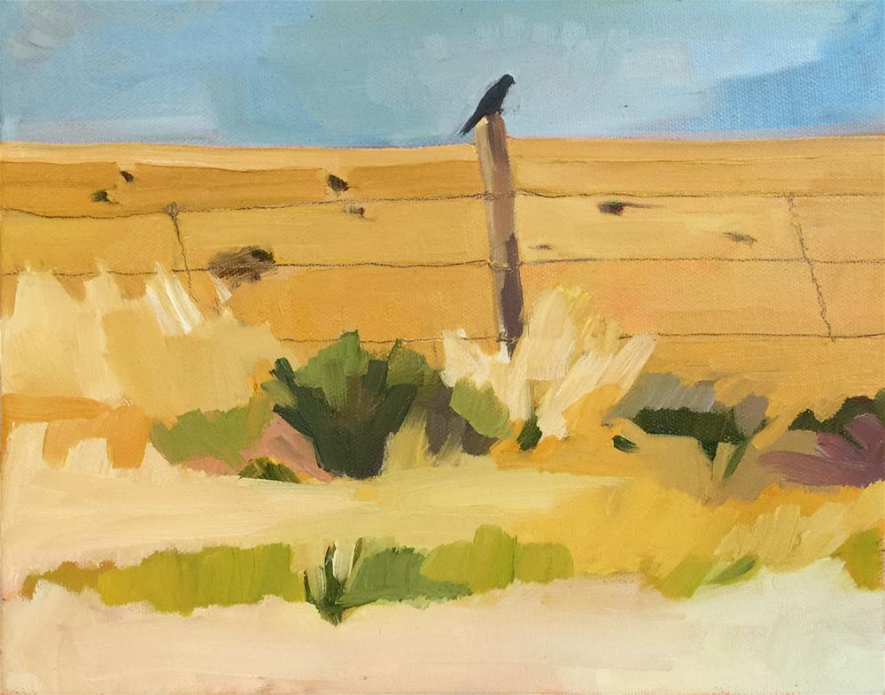 """Bird on a Fence Post"" original fine art by Jessie Dodington"