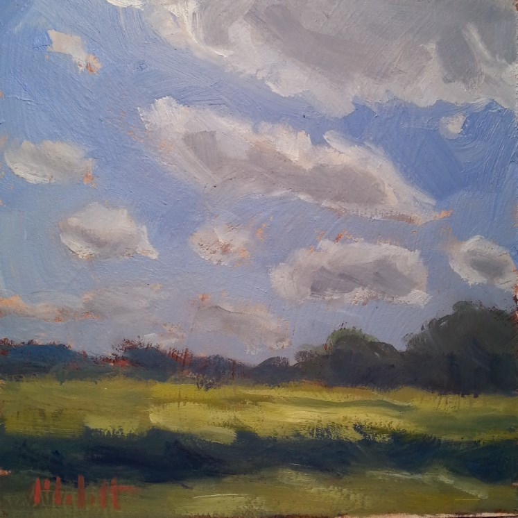 """September Skies Soybean Fields Daily Oil Painting"" original fine art by Heidi Malott"