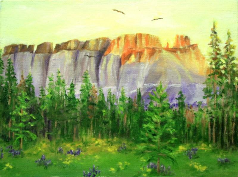 """Pinnacles at Sunrise"" original fine art by Jean Nelson"