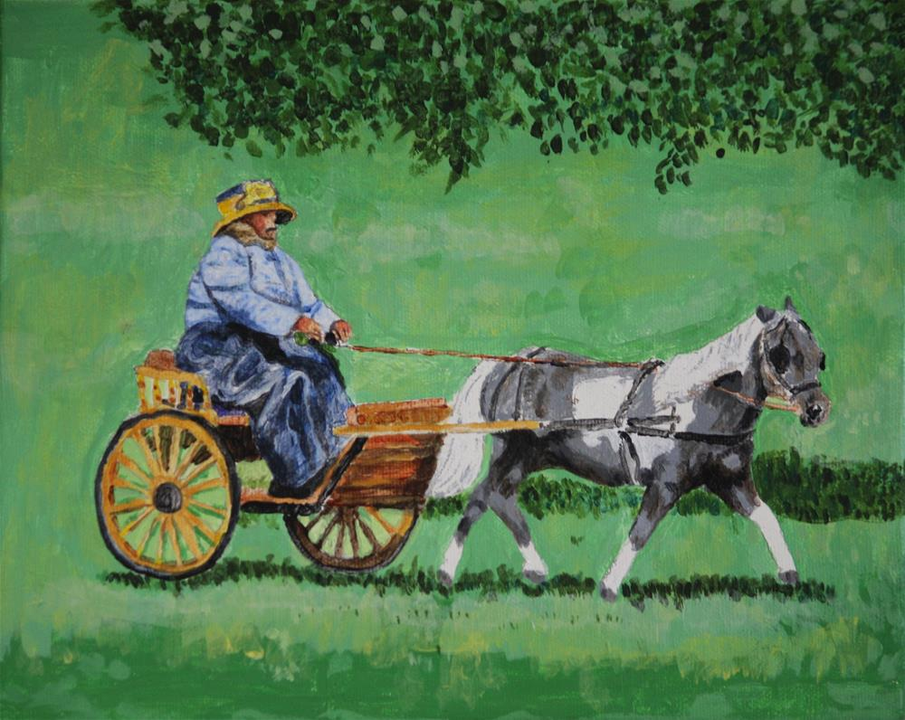 """Pony and Antique Carriage"" original fine art by Terri-Anne Barge"