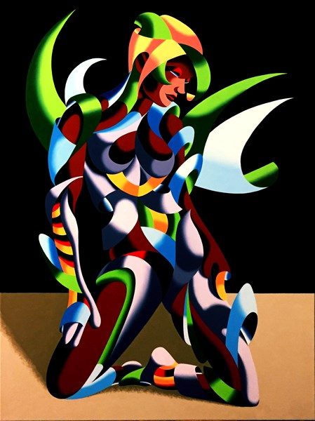 """Mark Adam Webster - Adrina 3201 - Abstract Geometric Futurist Figurative Oil Painting"" original fine art by Mark Webster"