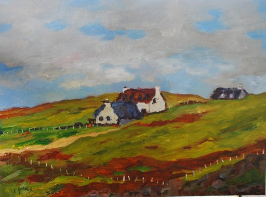 """Three Cottages on a Hill"" original fine art by Liz Zornes"
