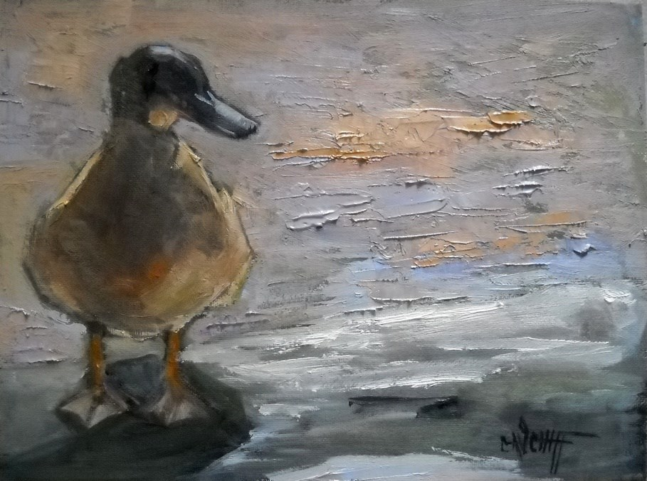 """Duck Painting, Wildlife Painting, Just Hanging Out by Carol Schiff, 6x8 oil"" original fine art by Carol Schiff"