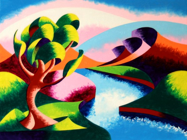 """Mark Webster - Abstract Geometric River Landscape Oil Painting 2012-04-23"" original fine art by Mark Webster"