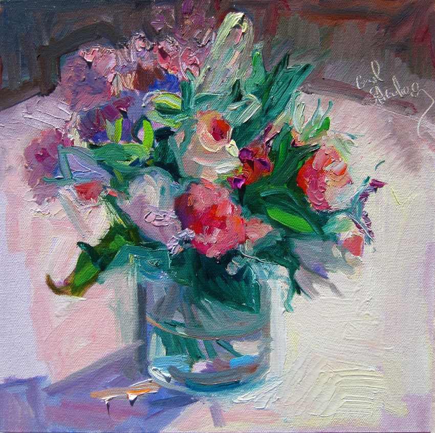 """Pink Roses Posey, Pink Cloth"" original fine art by Carol Steinberg"