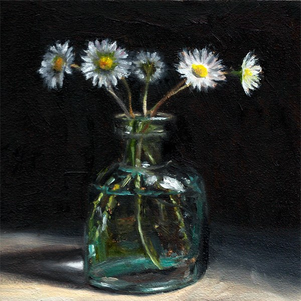 """Daisies in an antique ink bottle"" original fine art by Peter J Sandford"