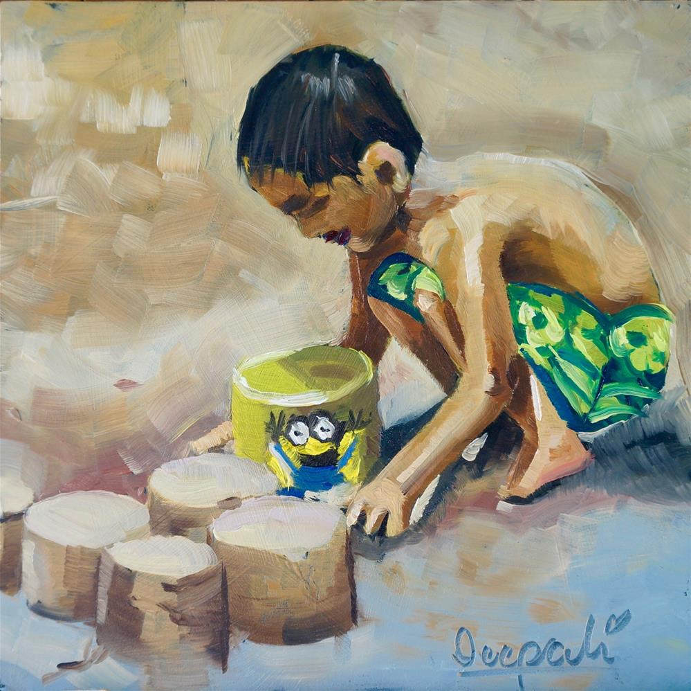 """Boy playing sand"" original fine art by Dipali Rabadiya"