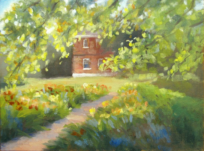 """Garden in Afternoon Light"" original fine art by Keiko Richter"
