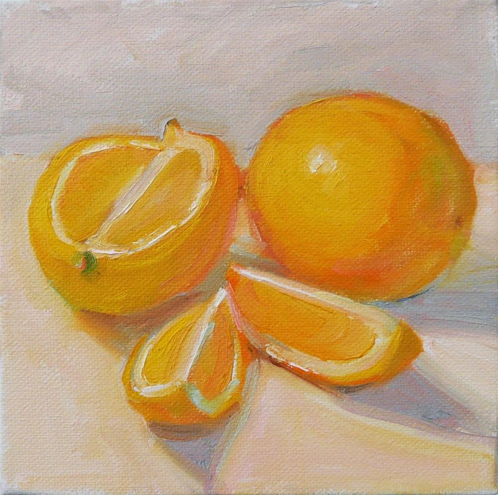 """Lemons with Wedges,still life,oil on canvas,6x6,price$200"" original fine art by Joy Olney"