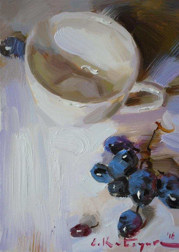 """White Cup and Grapes"" original fine art by Elena Katsyura"