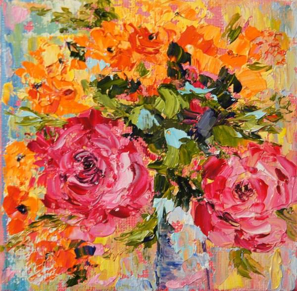 """""""Rose flower arrangement No.3 Still Life Palette Knife Painting"""" original fine art by Marion Hedger"""