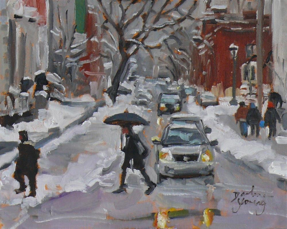 """916 Montreal Winter Scene, Av du Musee, oil on board, 8x10"" original fine art by Darlene Young"