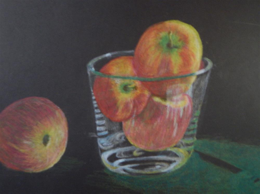 """Apples in Glass Bowl"" original fine art by Elaine Shortall"