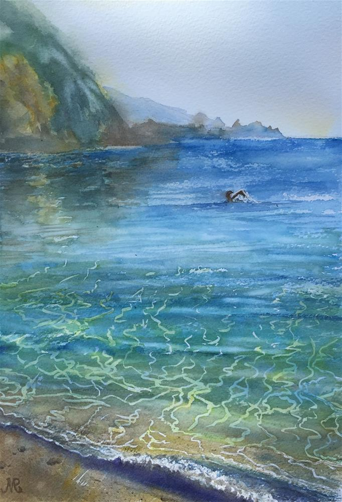 """A swimmer"" original fine art by Natasha Ramras"