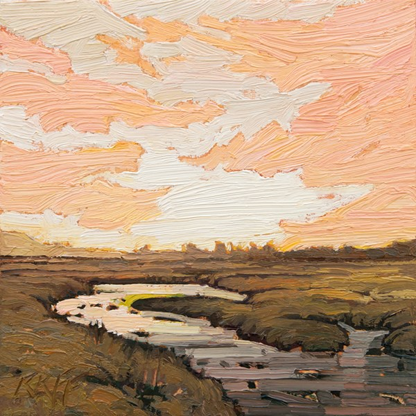 """Delta Morning: 6x6 oil on panel"" original fine art by Ken Faulks"