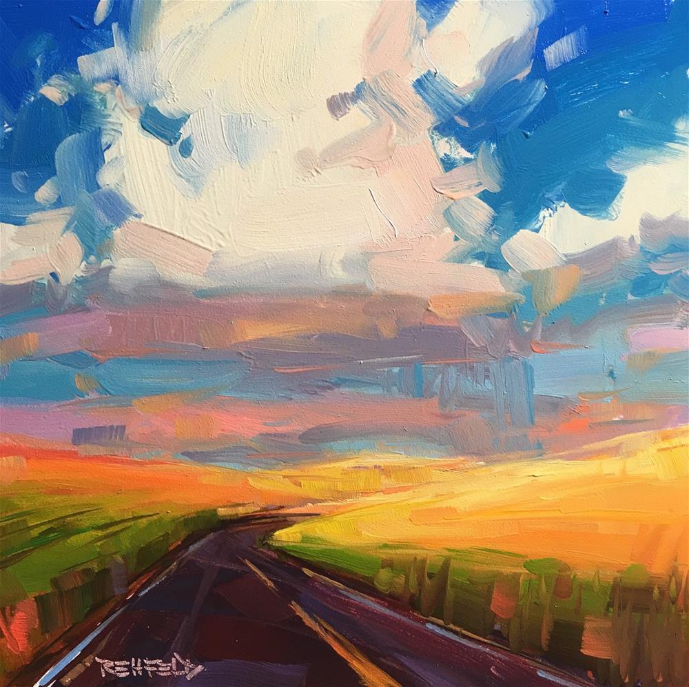 """Big Puffy Clouds at Sunset"" original fine art by Cathleen Rehfeld"