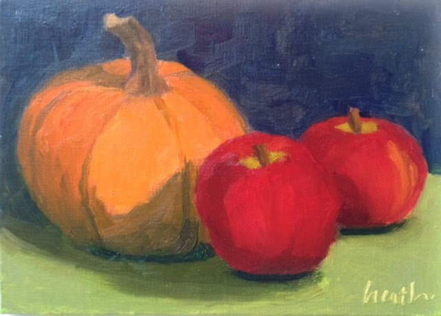 """Pumpkin and Friends"" original fine art by Bobbi Heath"