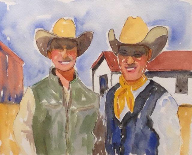 """""""Dos Caballeros"""" original fine art by Judy Elias"""