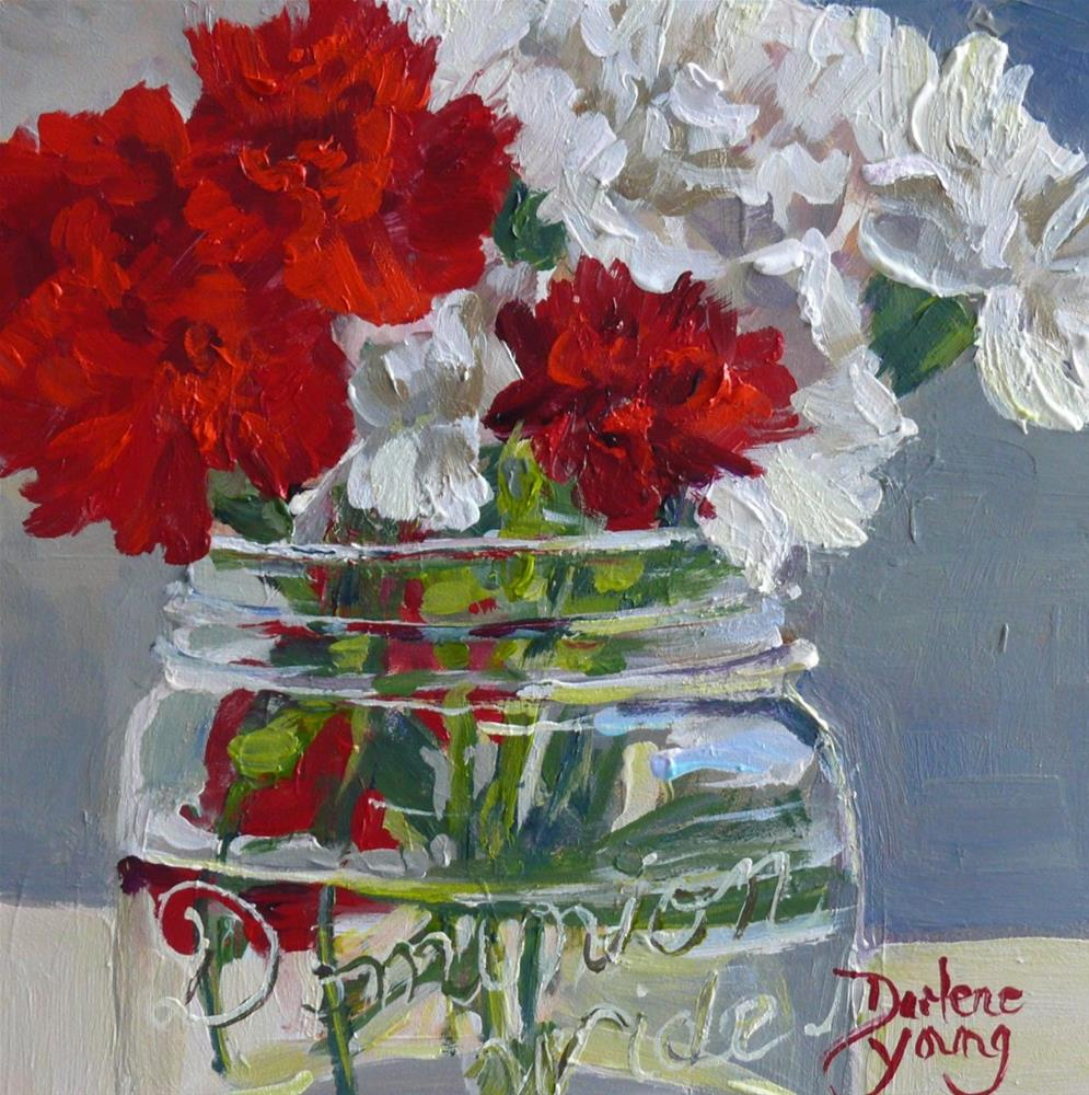 """851 Carnations in a Mason Jar, acrylic on board, 6x6"" original fine art by Darlene Young"