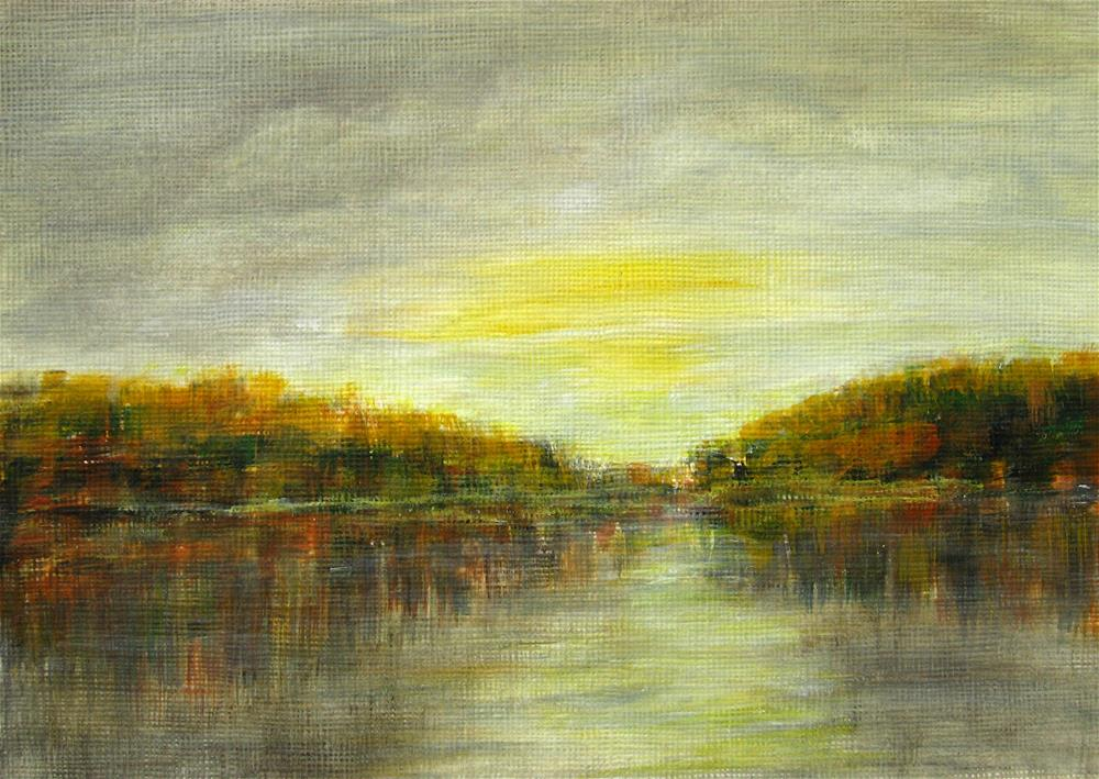 """Autumn At The Lake"" original fine art by Alina Frent"