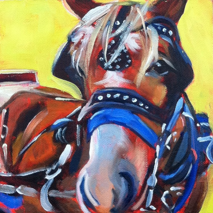 """Carriage Horse, oil on ray mar, 6x6"" original fine art by Darlene Young"