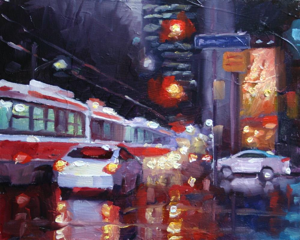 """Streetcar Parade, Queen and University"" original fine art by Catherine Jeffrey"