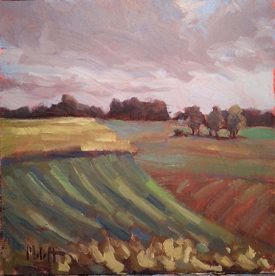 """Patchwork Fields and Skies Rural Landscape Painting"" original fine art by Heidi Malott"