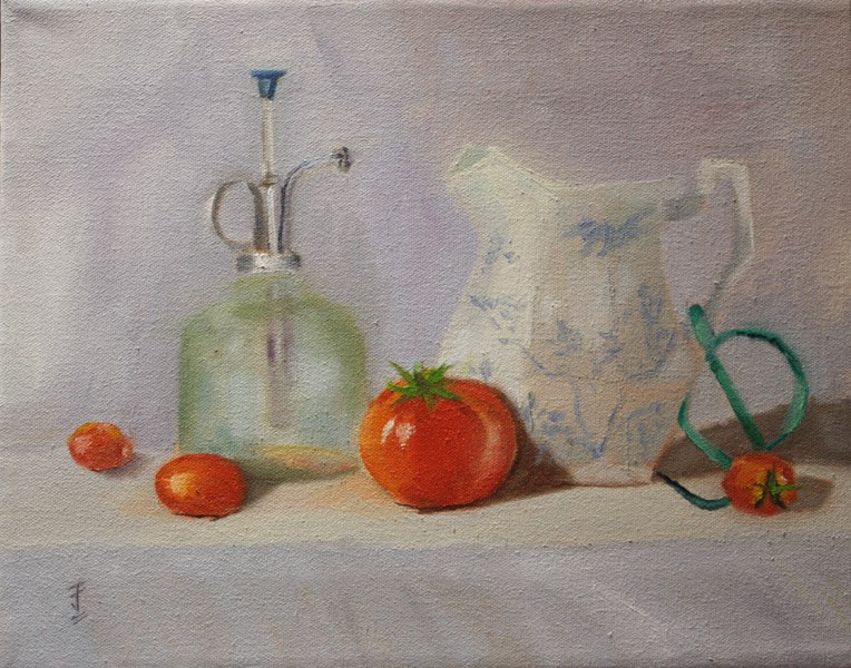 """Tomato Party"" original fine art by Jane Frederick"