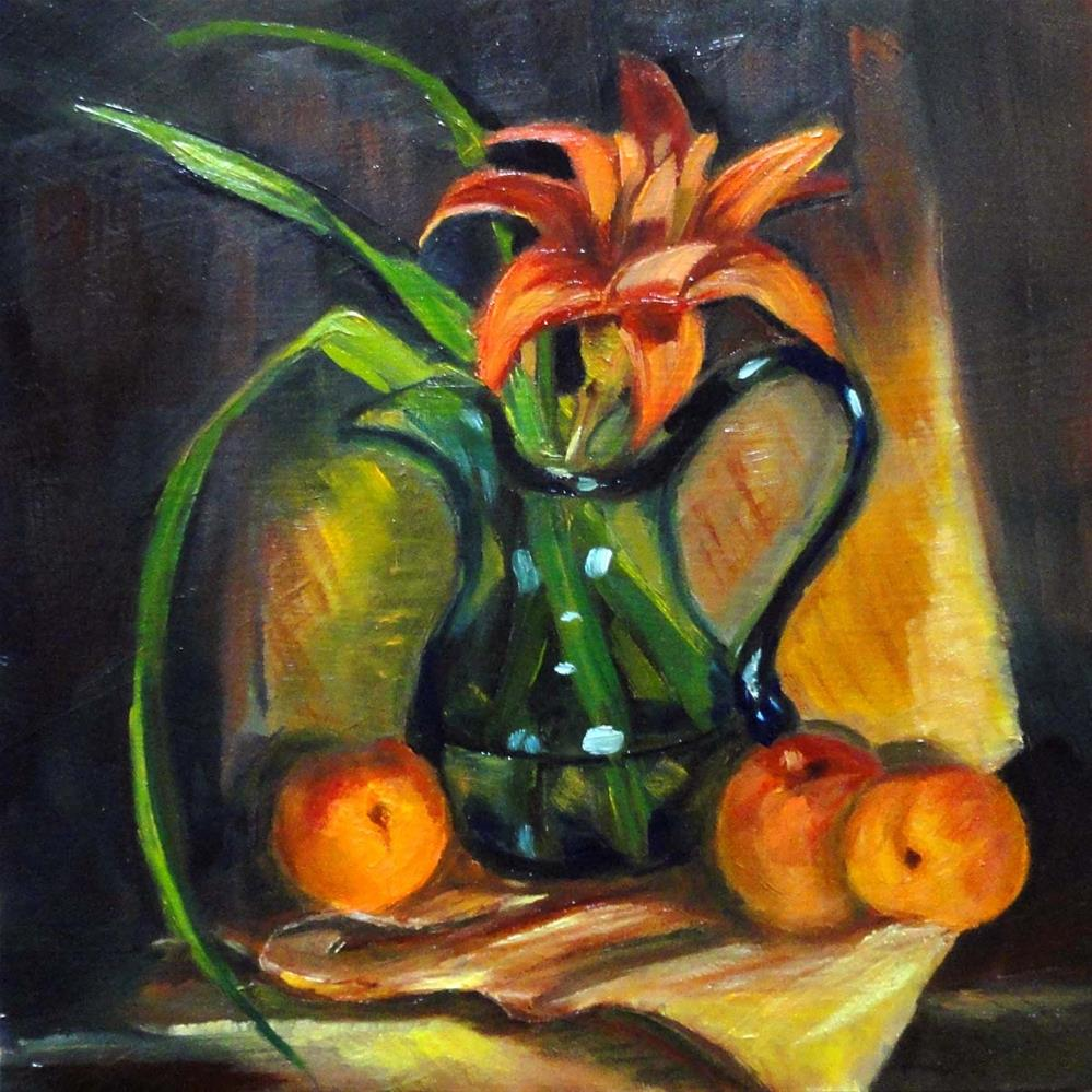 """Williamsburg Pitcher, Apricots & A Day Lily"" original fine art by Cietha Wilson"