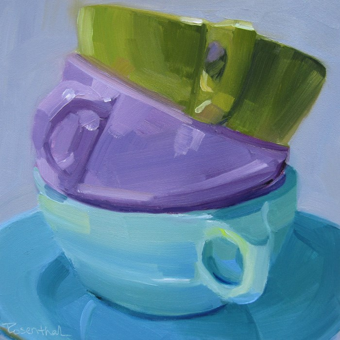 """Three Stacked Cups Revisited"" original fine art by Robin Rosenthal"