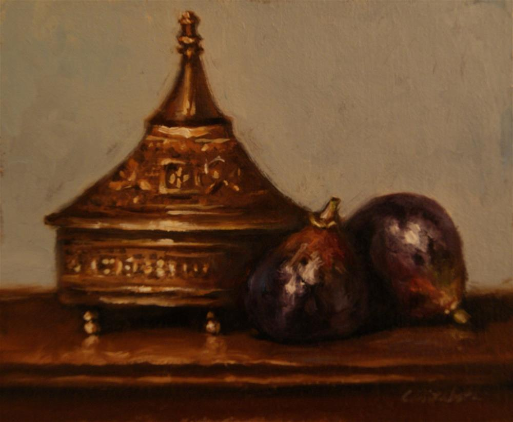 """Still Life withFigs and Brass Box,  Oil on 5x6 Linen Panel"" original fine art by Carolina Elizabeth"