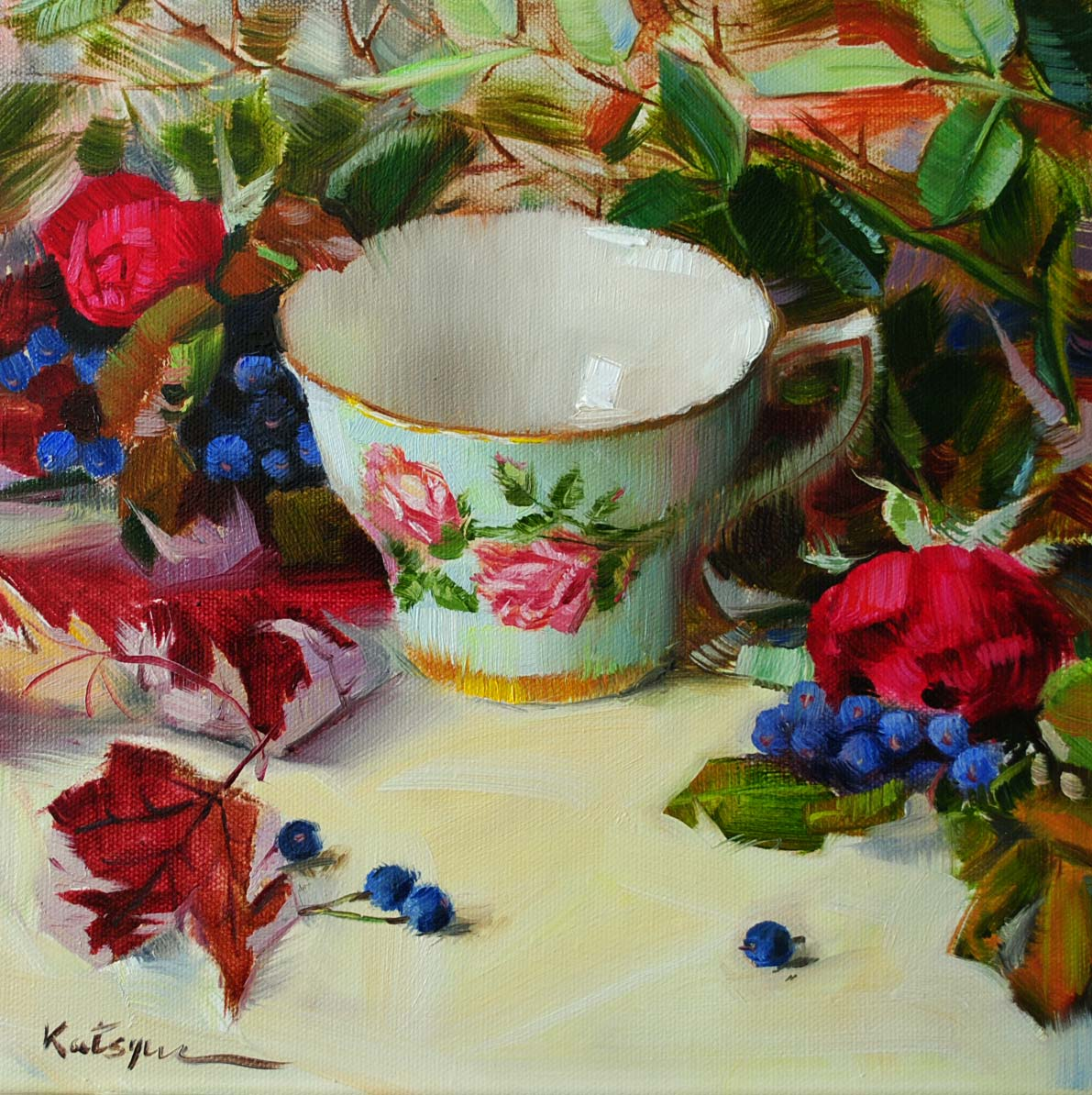"""China & Roses"" original fine art by Elena Katsyura"