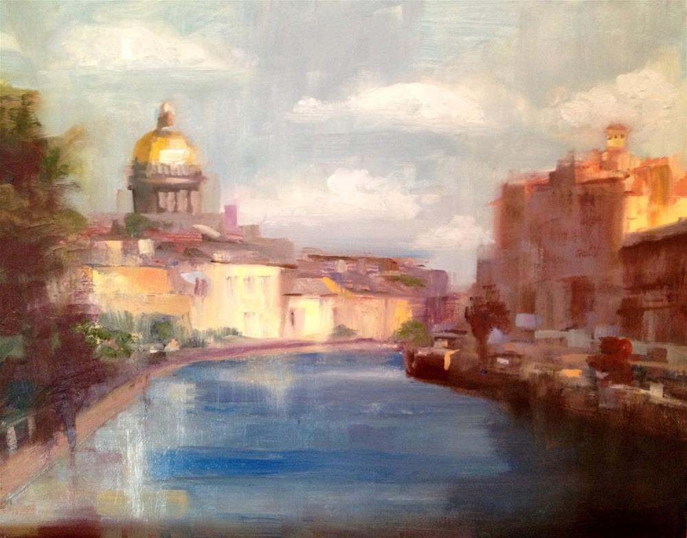 """Morning, Neva River, 10x8"" original fine art by Ann Feldman"