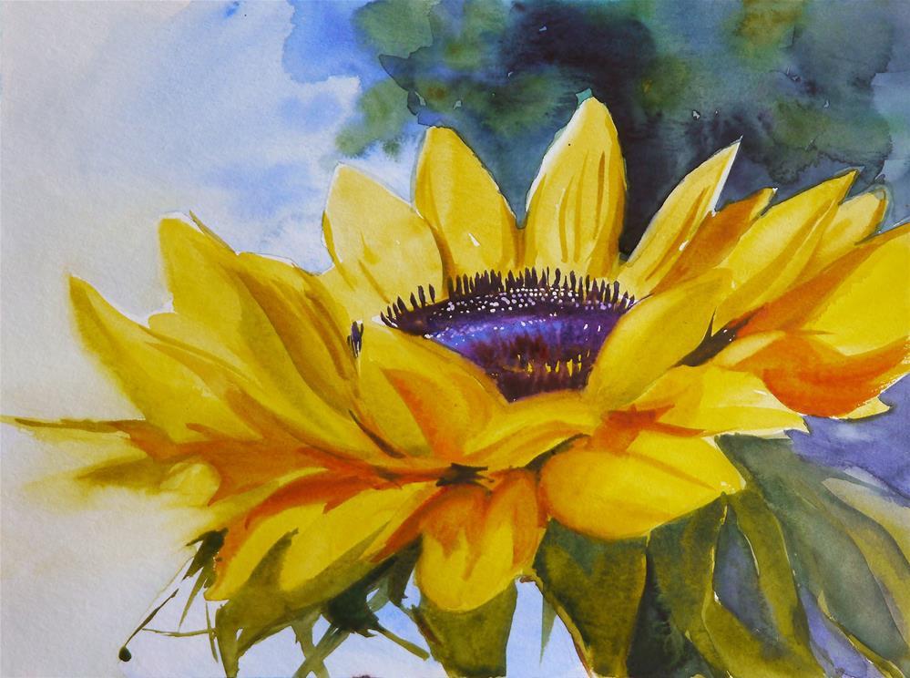 """sunflower_aqua_1"" original fine art by Beata Musial-Tomaszewska"