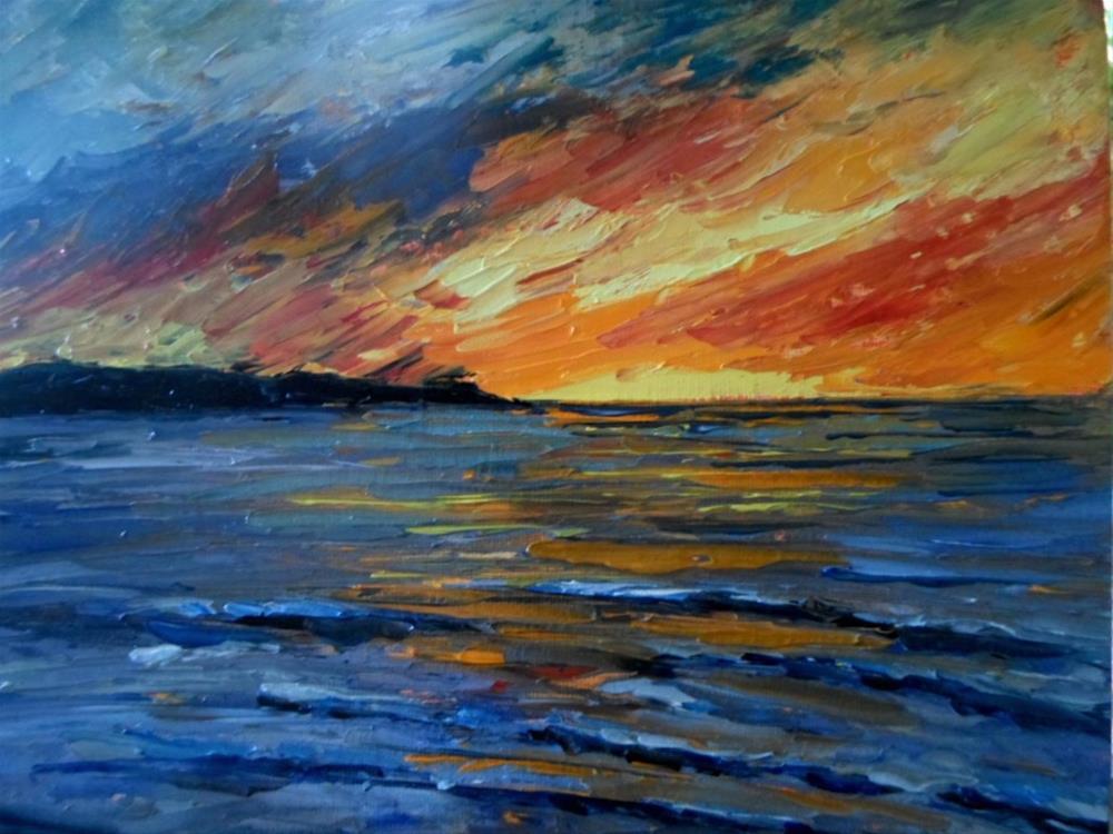 """8 x 10 inch oil Sunset series #2"" original fine art by Linda Yurgensen"